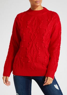 Bobble Diamond Cable Knit Jumper