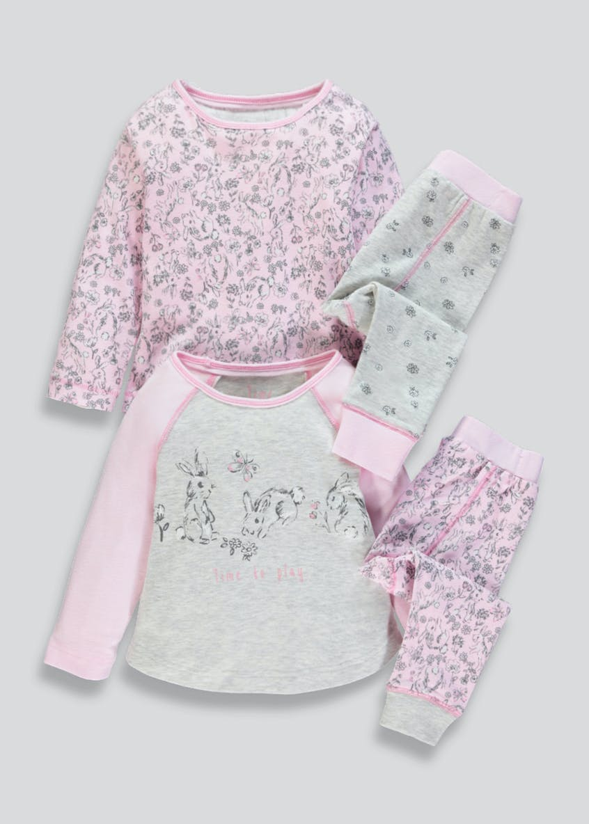 Girls 2 Pack Bunny Pyjamas (9mths-5yrs)