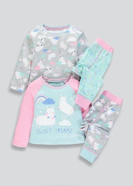 Girls 2 Pack Llama Pyjamas (9mths-5yrs)