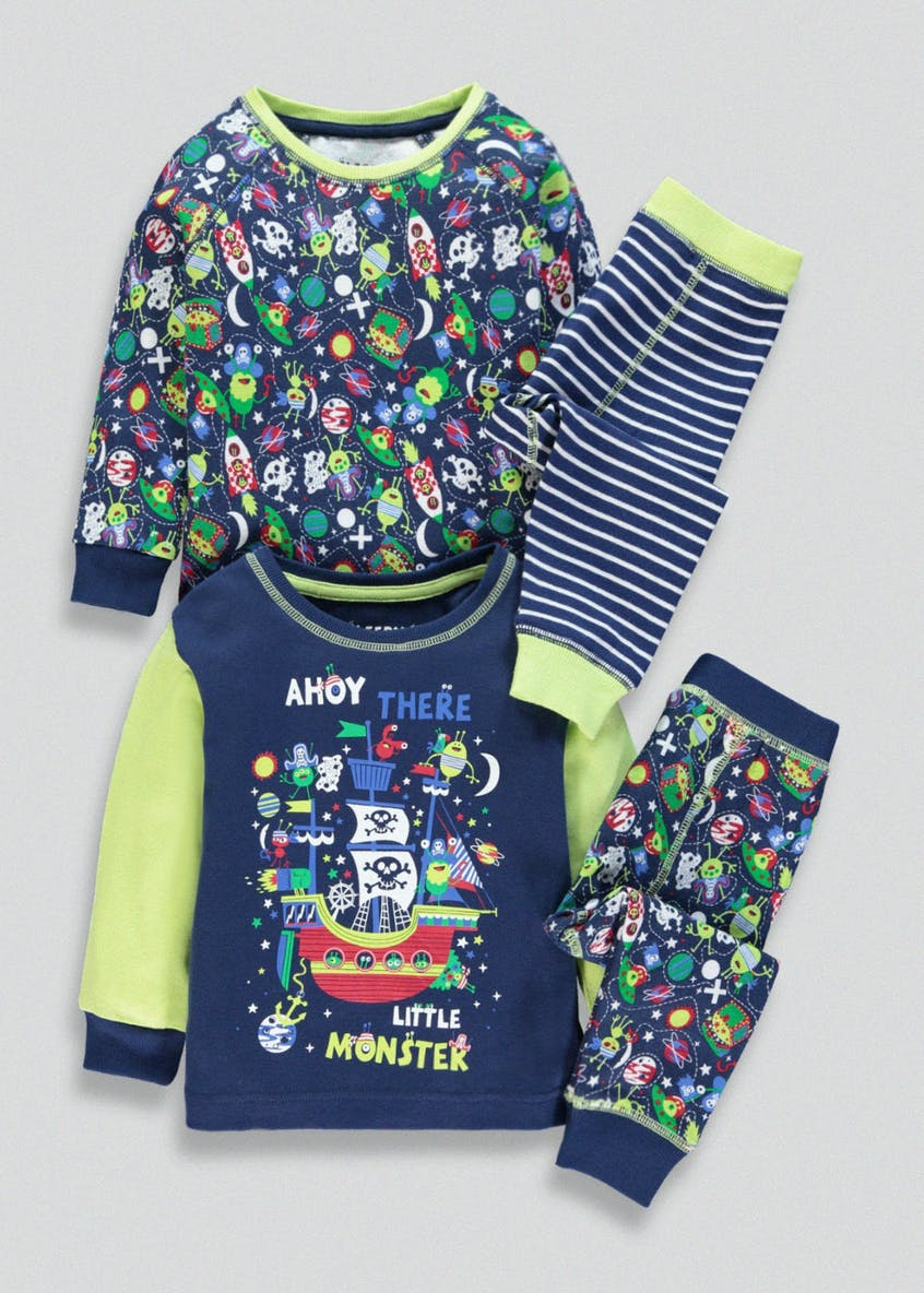 Kids 2 Pack Space Monster Pirate Pyjamas (9mths-5yrs)