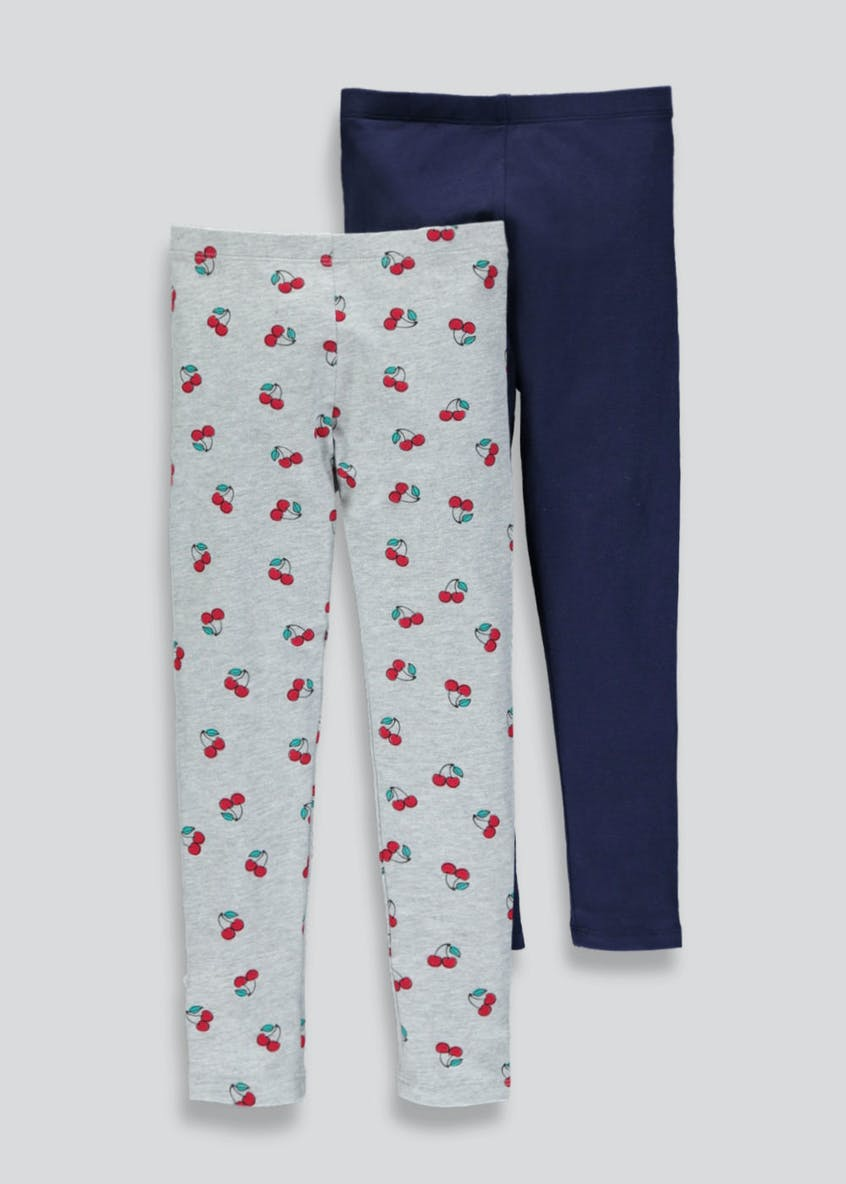 Girls 2 Pack Cherry Print Leggings (4-13yrs)