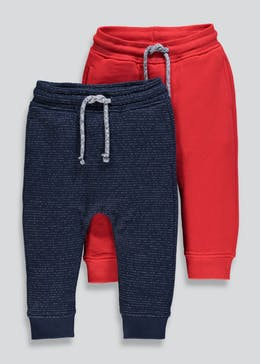 Boys 2 Pack Soft Brushback Jogging Bottoms (9mths-6yrs)