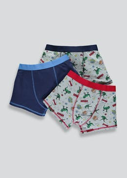 Boys 3 Pack Space Dinosaur Trunks (2-13yrs)