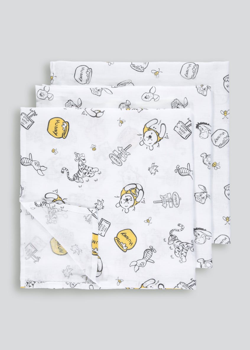 3 Pack Winnie the Pooh Muslin Squares (One Size)