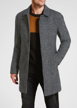 Check Wool Longline Overcoat