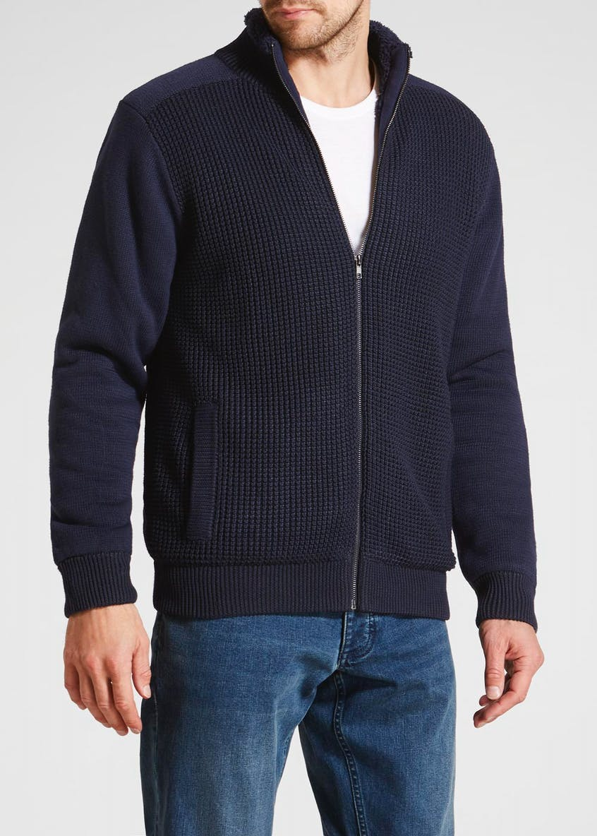 Big & Tall Borg Lined Zip Through Knitted Jacket