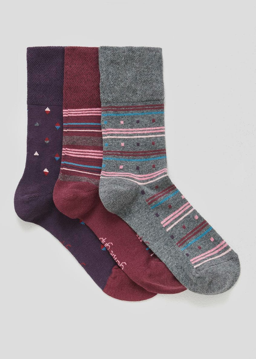 3 Pack Stripe Gentle Grip Socks