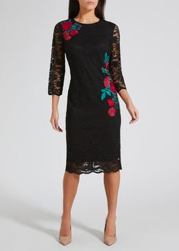 Soon Floral Embroidered Lace Midi Dress