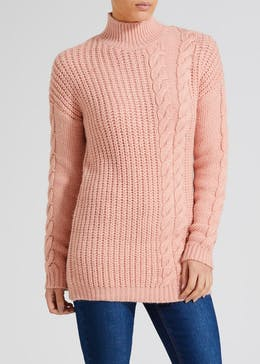 1f498d5174d37b Cable Knit Funnel Neck Tunic Jumper