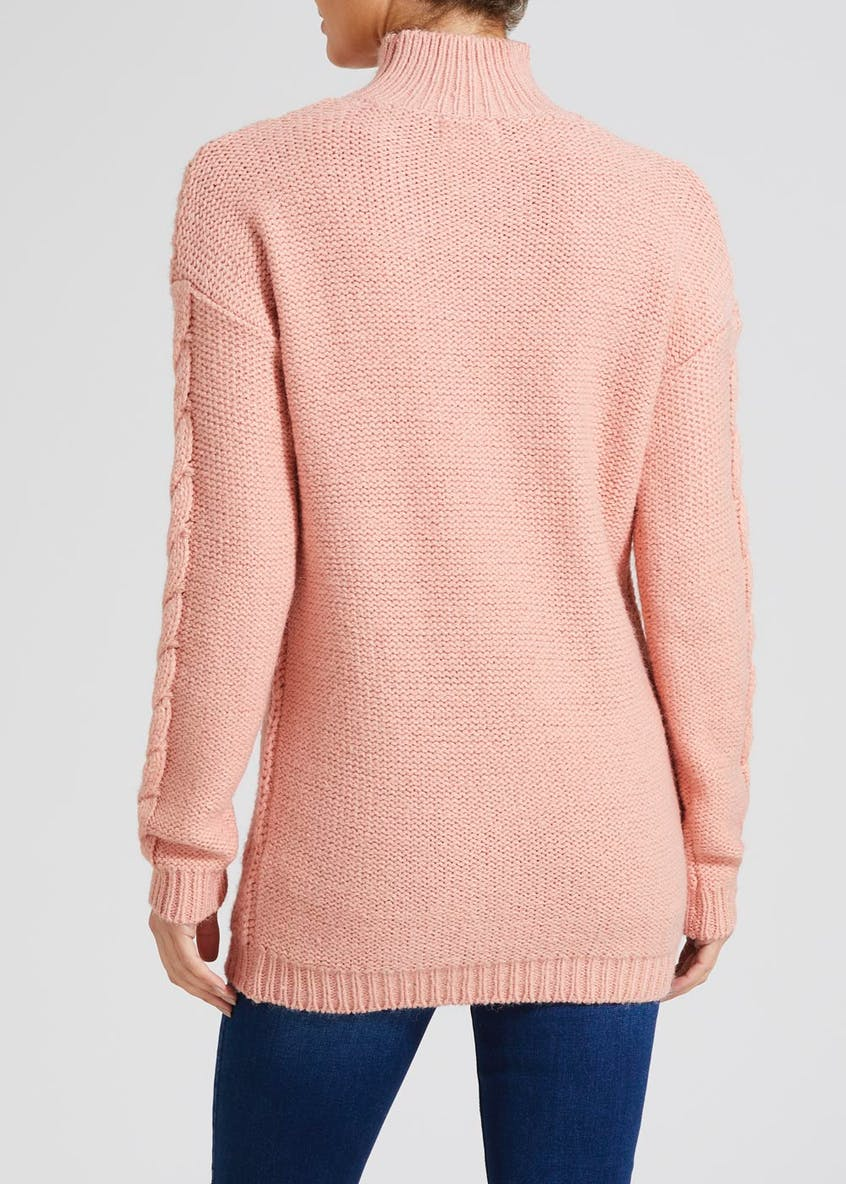 Cable Knit Funnel Neck Tunic Jumper
