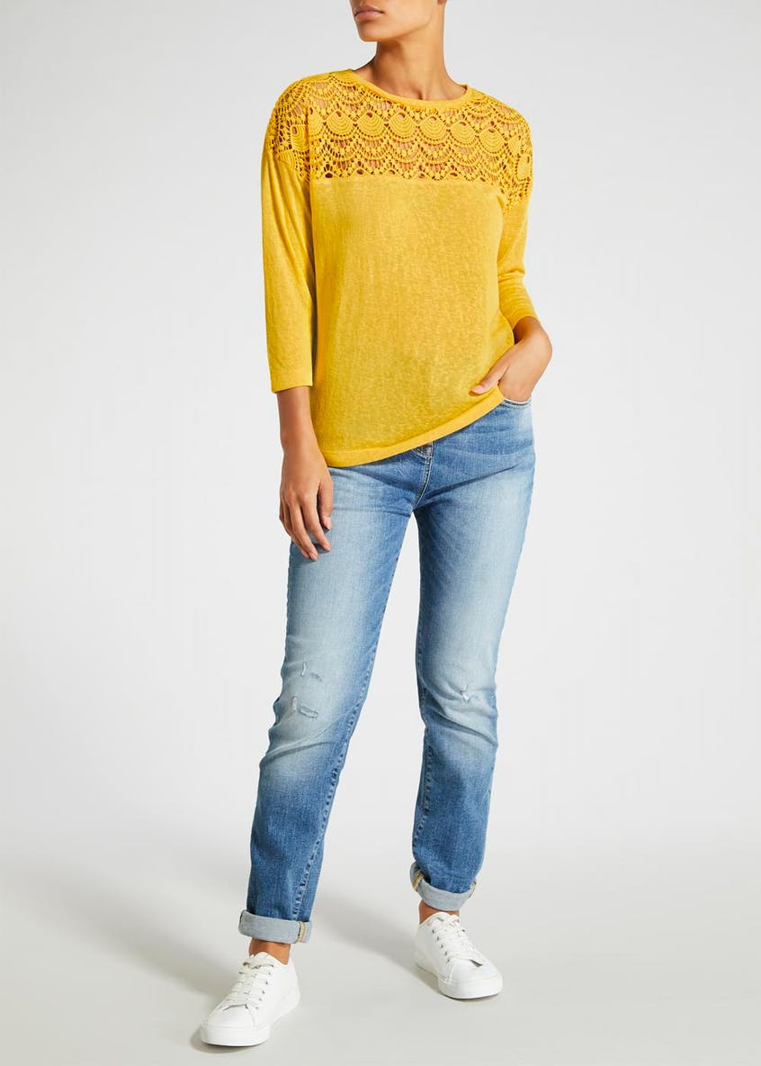 Falmer Lace Yoke Jersey Top