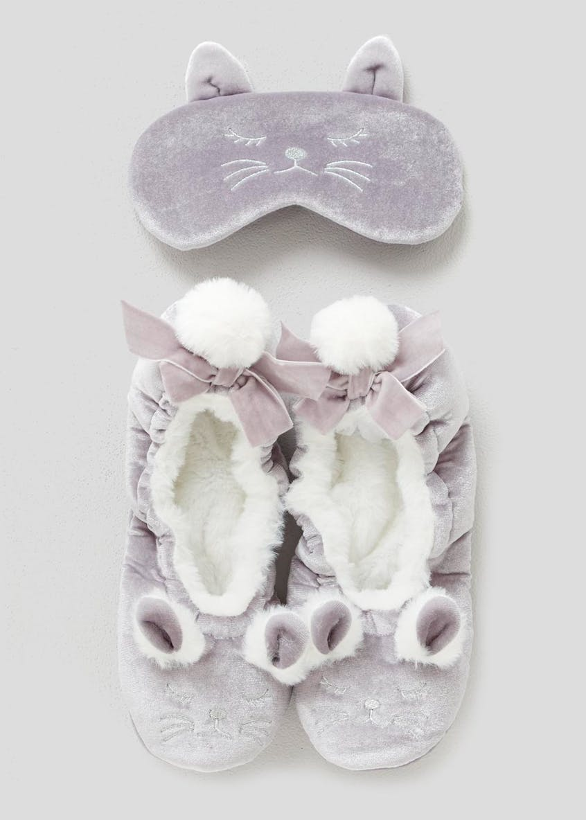 Cat Ballet Slippers & Eye Mask Set (One Size)