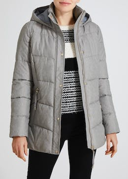 Short Textured Padded Hooded Coat