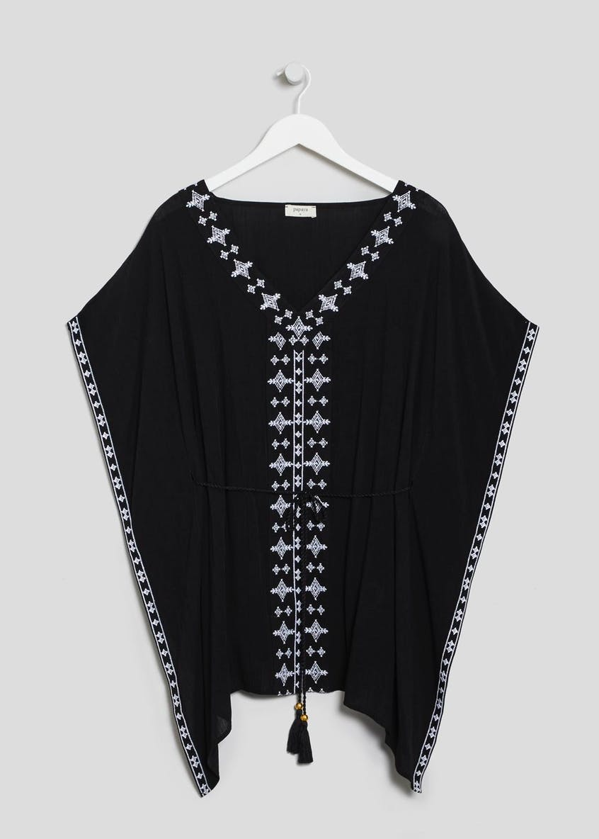 Embroidered Tassel Tie Kaftan
