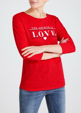 Love Slogan Jersey Top
