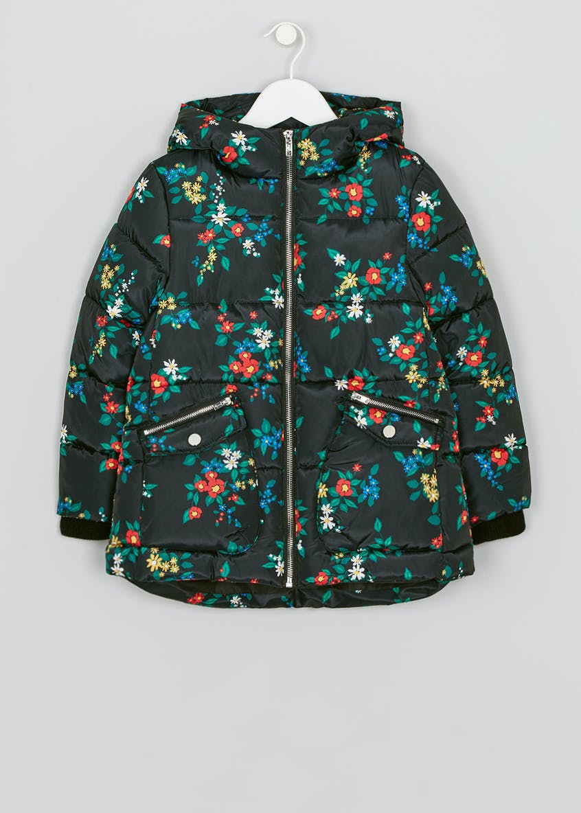 Mini Me Girls Floral Hooded Coat (4-13yrs)