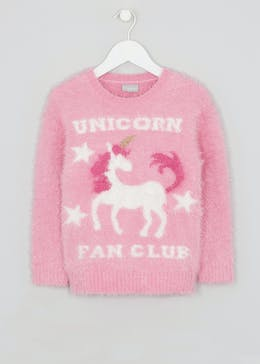 Girls Unicorn Fluffy Eyelash Jumper (4-13yrs)