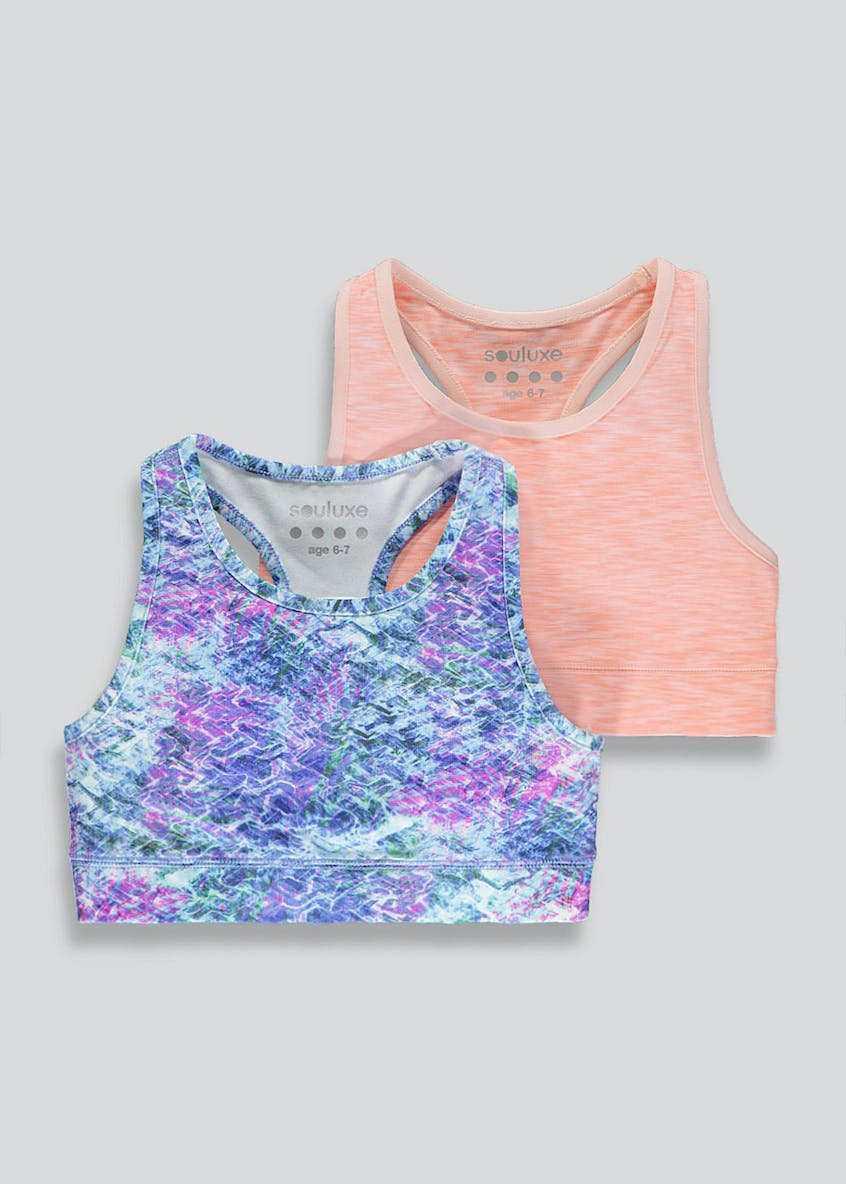 Girls Souluxe 2 Pack Sports Crop Top (4-13yrs)