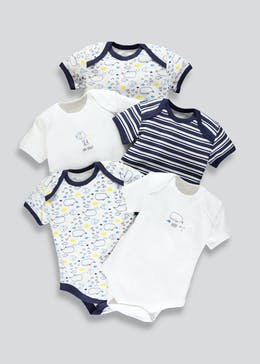 Unisex 5 Pack Whale Bodysuits (Tiny Baby-23mths)