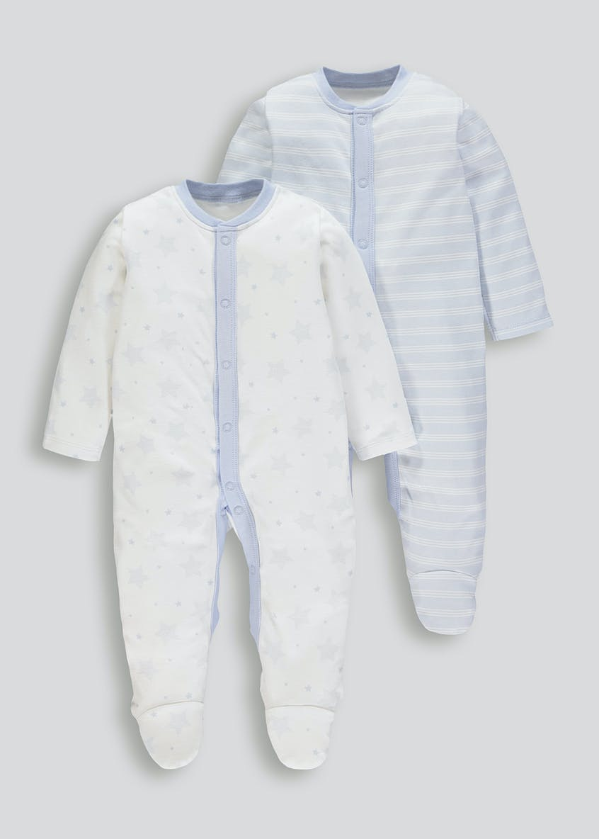 Unisex Cloud & Stripe Baby Grows (Tiny Baby-18mths)