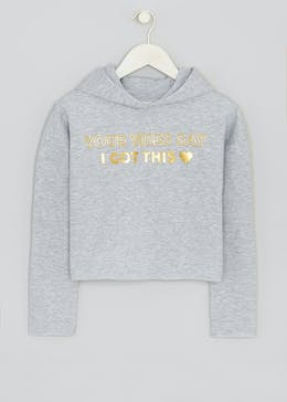 Girls Candy Couture Slogan Cropped Hoodie (9-16yrs)