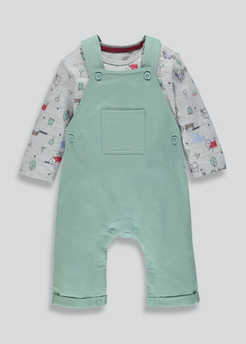Unisex Tractor Dungarees & Long Sleeve T-Shirt Set (Newborn-18mths)