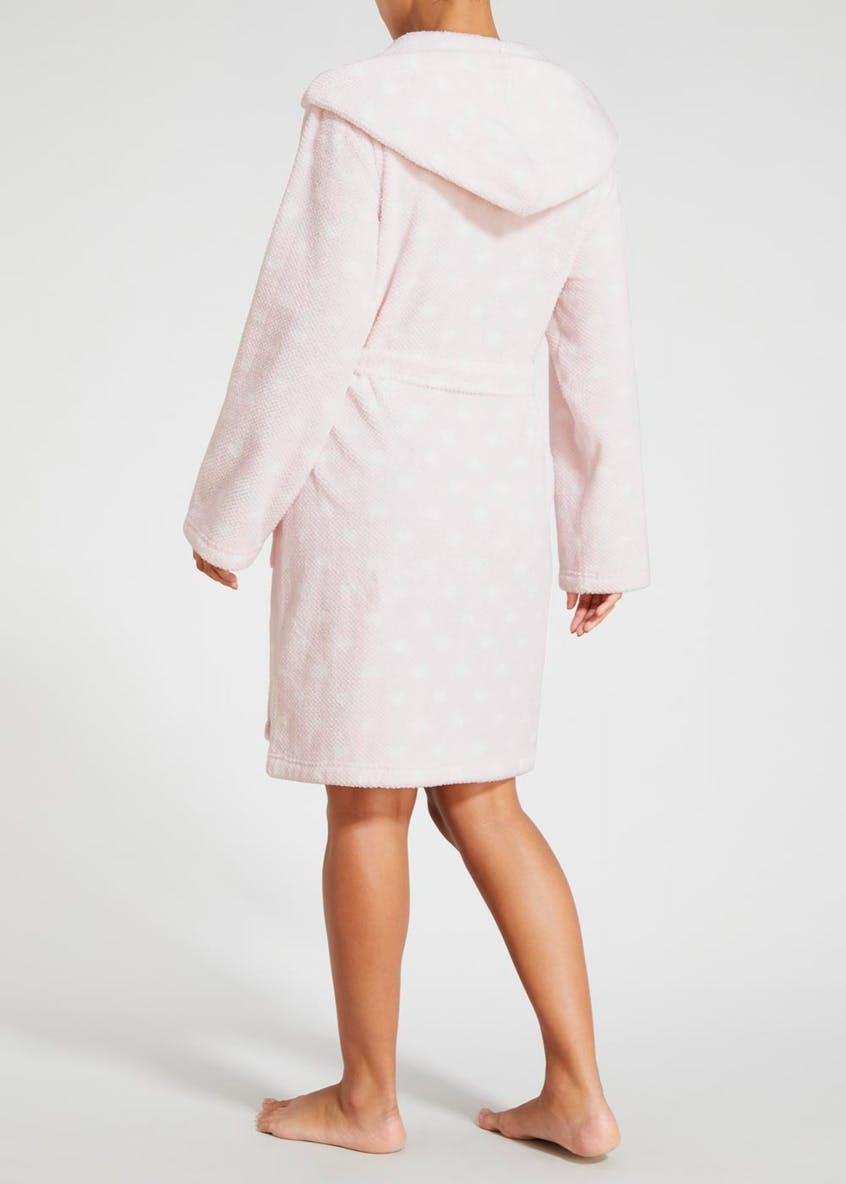 Heart Honeycomb Fleece Short Dressing Gown