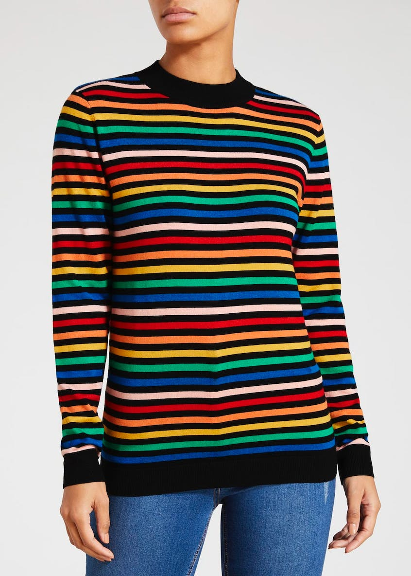 Stripe High Neck Jumper