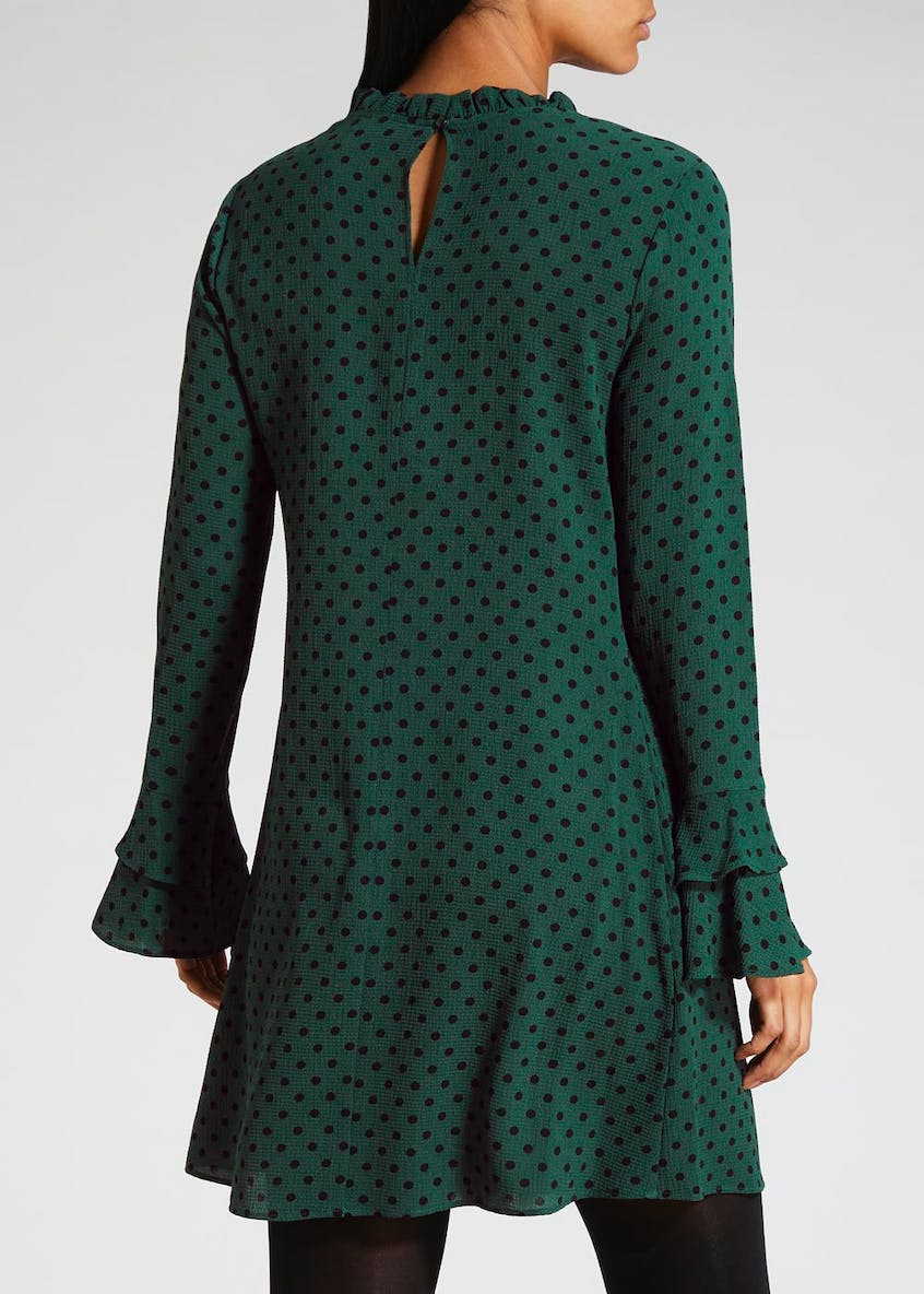 Polka Dot Frill Sleeve Tea Dress