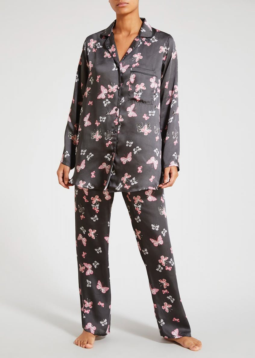 Butterfly Print Satin Pyjama Set