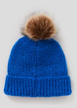fb04283fea5 Bright Faux Fur Bobble Hat