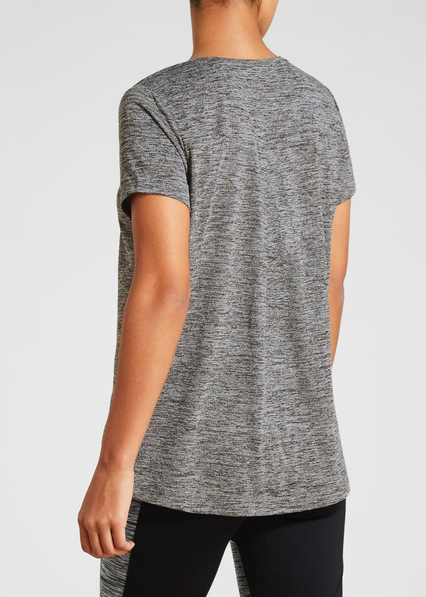 Souluxe Grey Pleat Back Gym T-Shirt