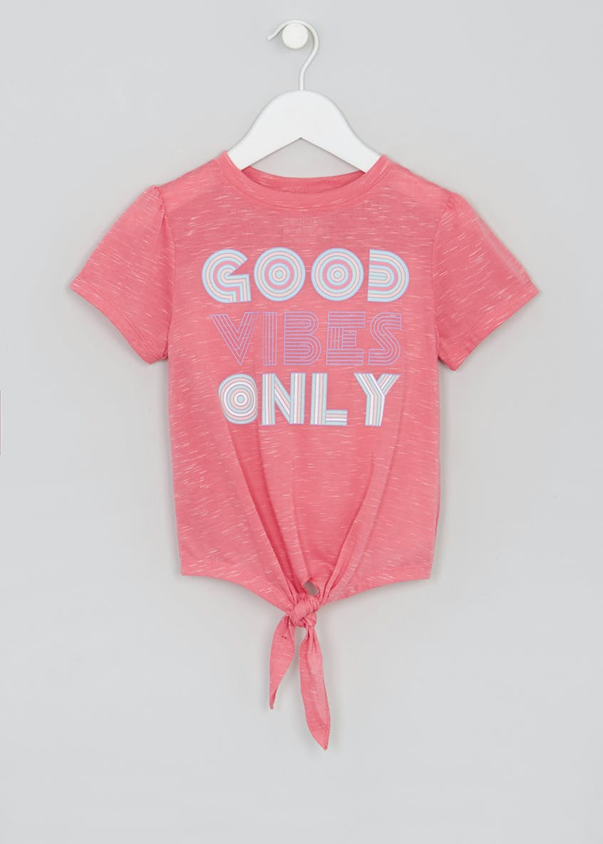 Girls Souluxe Good Vibes Slogan Sports T-Shirt (4-13yrs)
