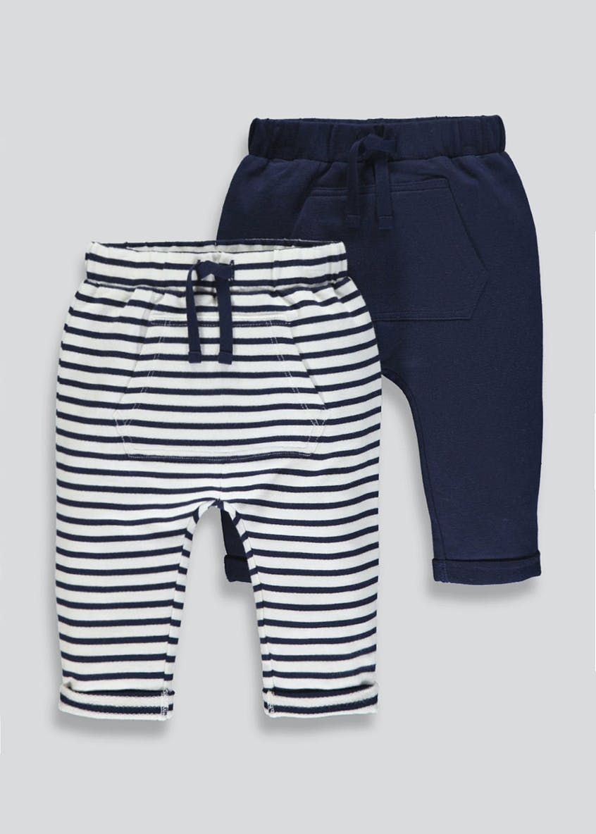 Unisex 2 Pack Nautical Jogging Bottoms (Tiny Baby-18mths)