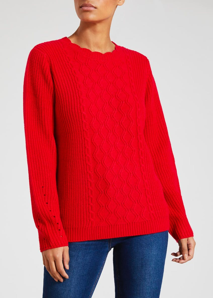 Scalloped Neck Cable Knit Jumper