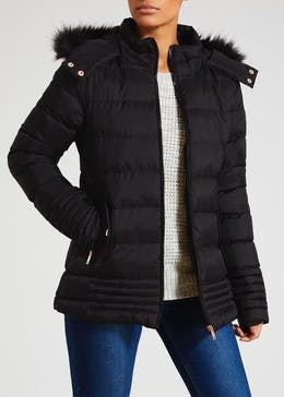 Faux Fur Hooded Short Padded Coat