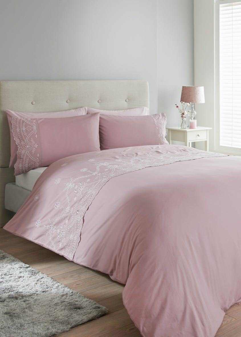 100% Cotton Broderie Anglaise Duvet Cover (180 Thread Count)