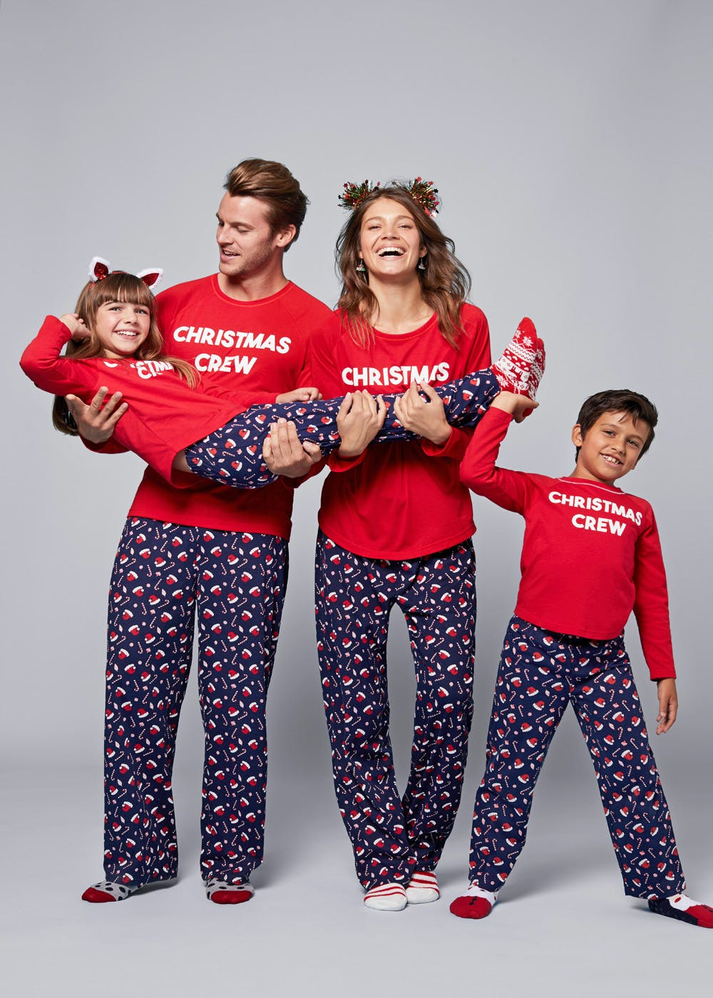 5a91bf5b78bce Mini Me Kids Family Christmas Crew Pyjama Set (3-13yrs) – Red – Matalan