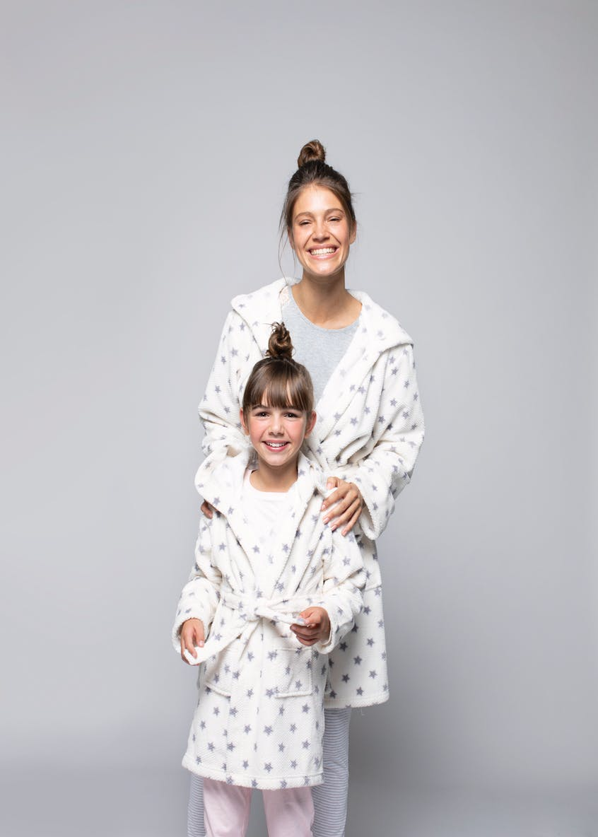 Star Honeycomb Fleece Short Dressing Gown
