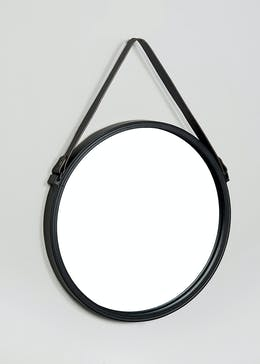 Round Hanging Leatherette Mirror (40cm x 40cm)