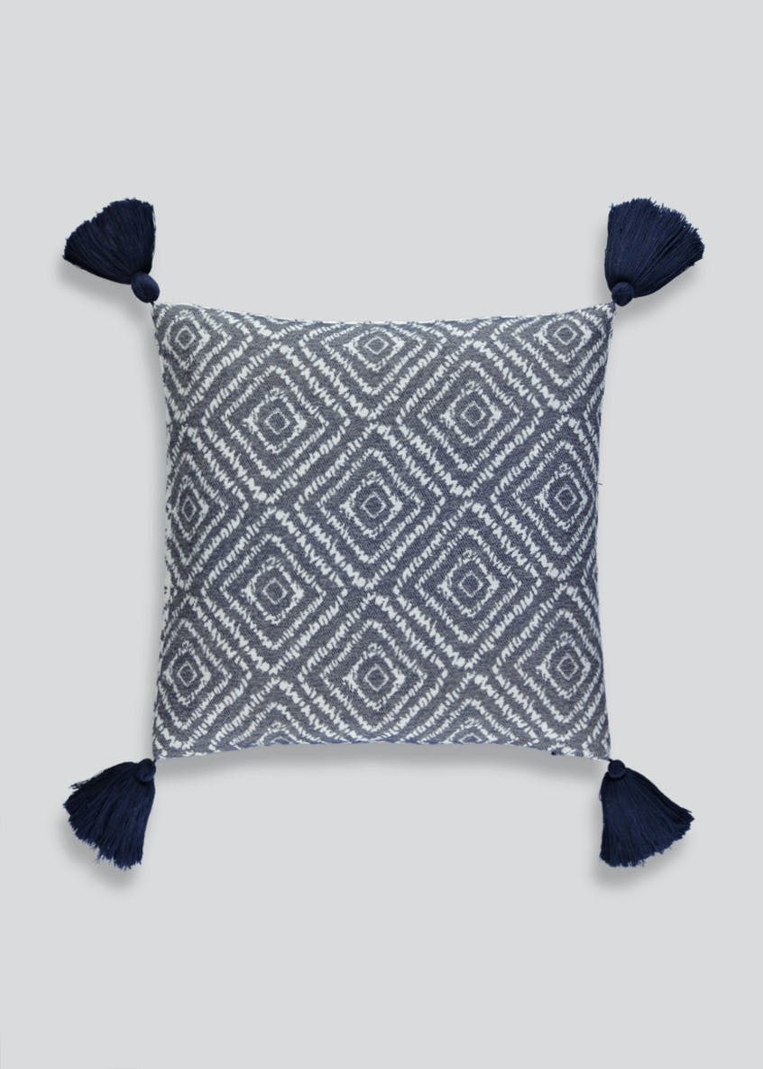 Reversible Geometric Tassel Cushion (48cm x 48cm)