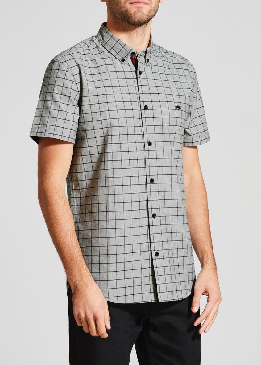 Short Sleeve Windowpane Check Shirt