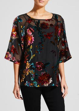 Soon Floral Burnout Blouse