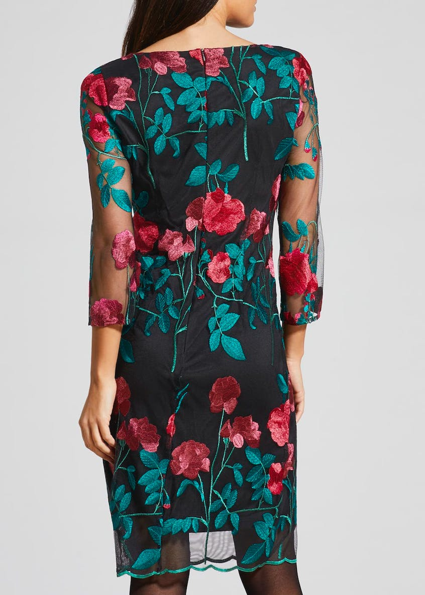 Soon Floral Embroidered Mesh Midi Dress