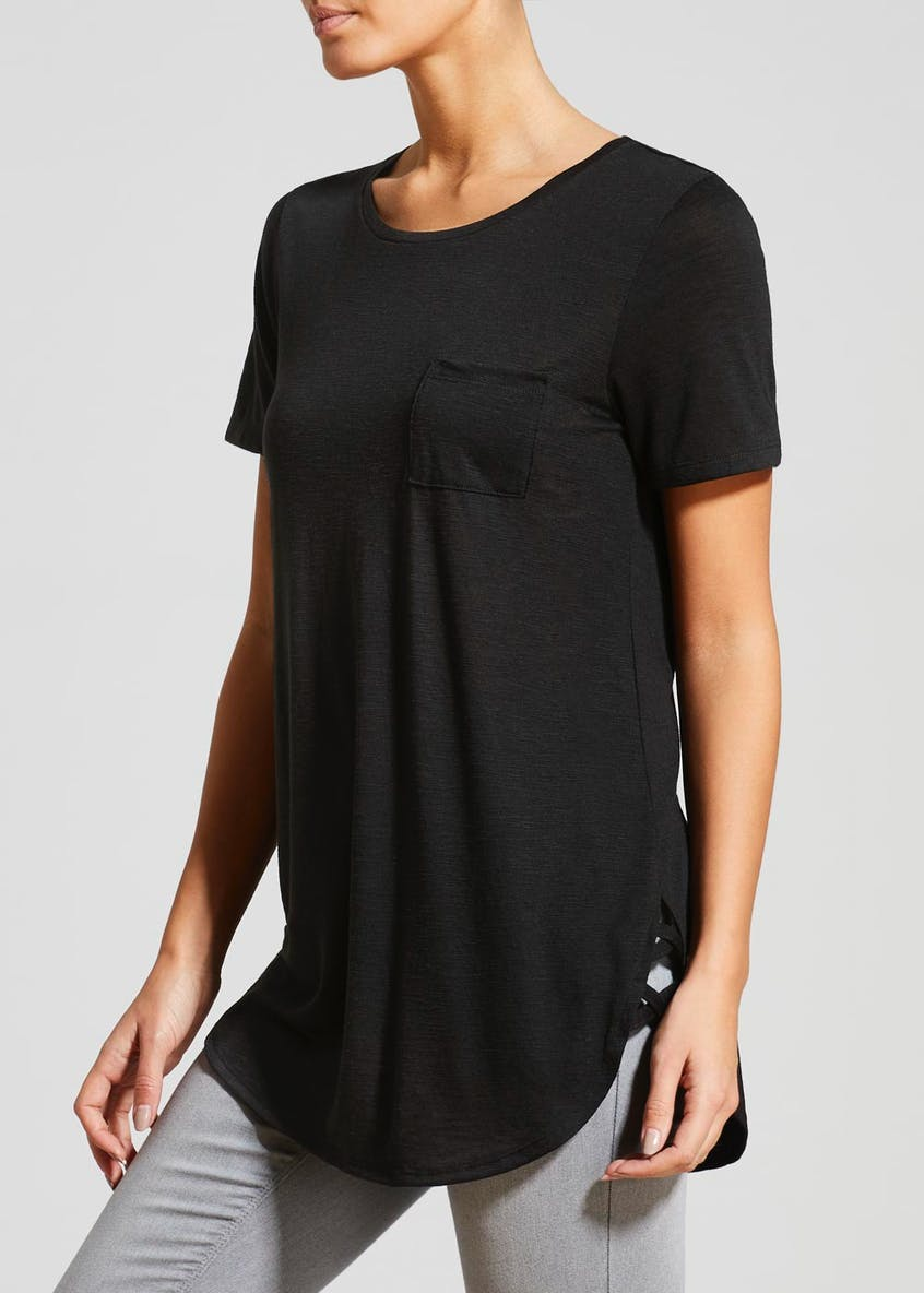 Lattice Hem Longline T-Shirt