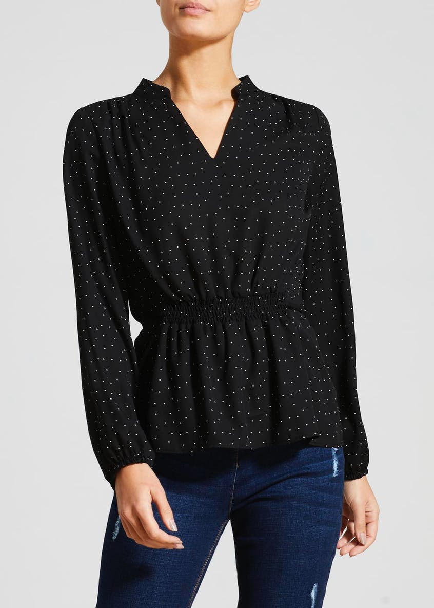Spot Shirred Waist Blouse
