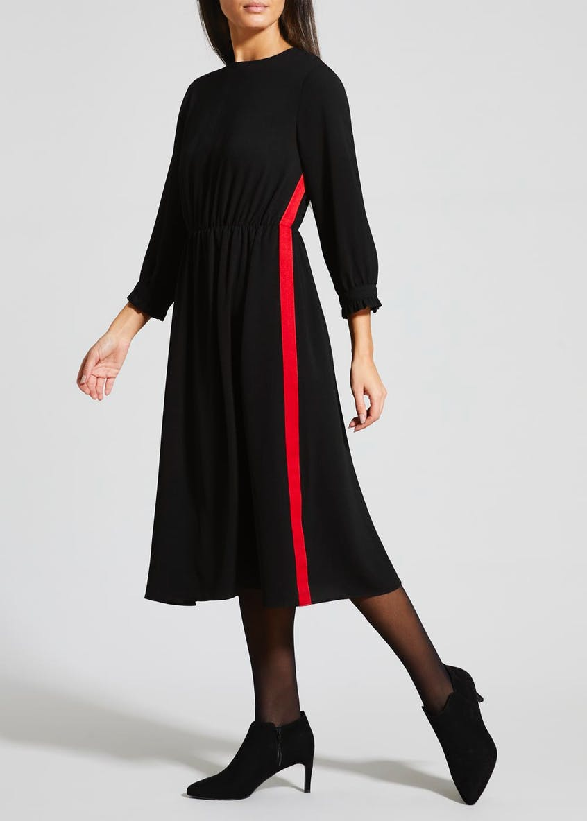 Contrast Tape Midi Dress