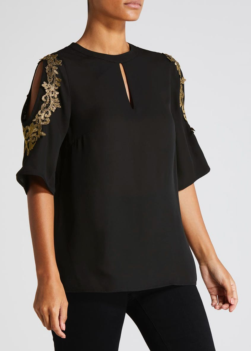 Soon Metallic Lace Cold Shoulder Blouse