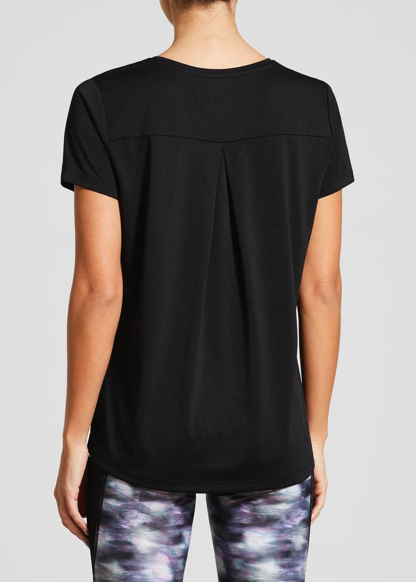 Souluxe Black Pleat Back Gym T-Shirt