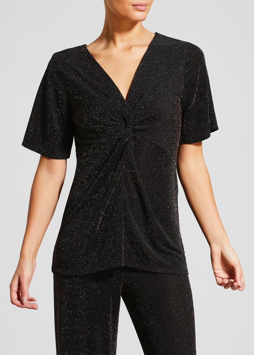 Lurex Glitter Twist Front Top